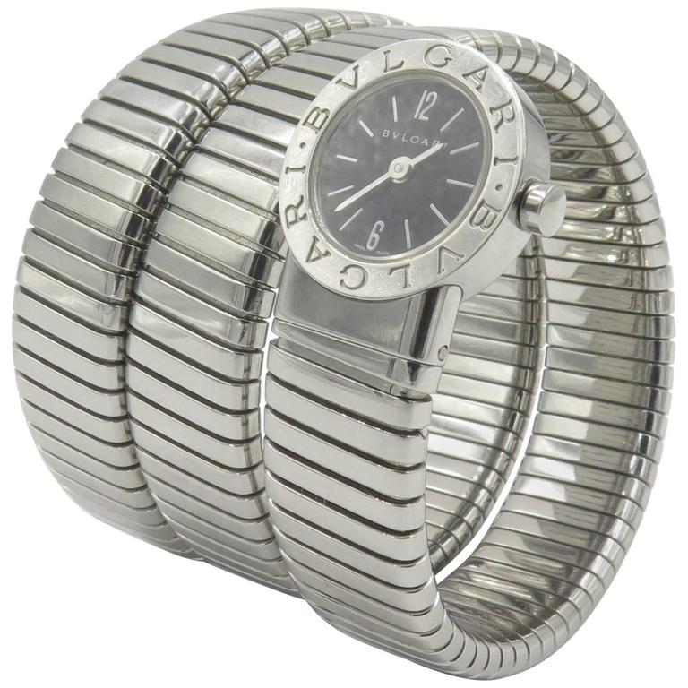 Bulgari Ladies Stainless Steel Tubogas Snake Wristwatch 1
