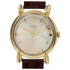 Omega Yellow Gold Oversize Fancy Lug Dress Model Wristwatch, circa 1950s