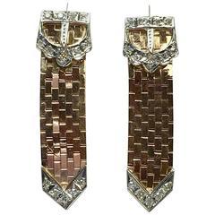 Diamond Rose Gold Brick Work Buckle Earrings