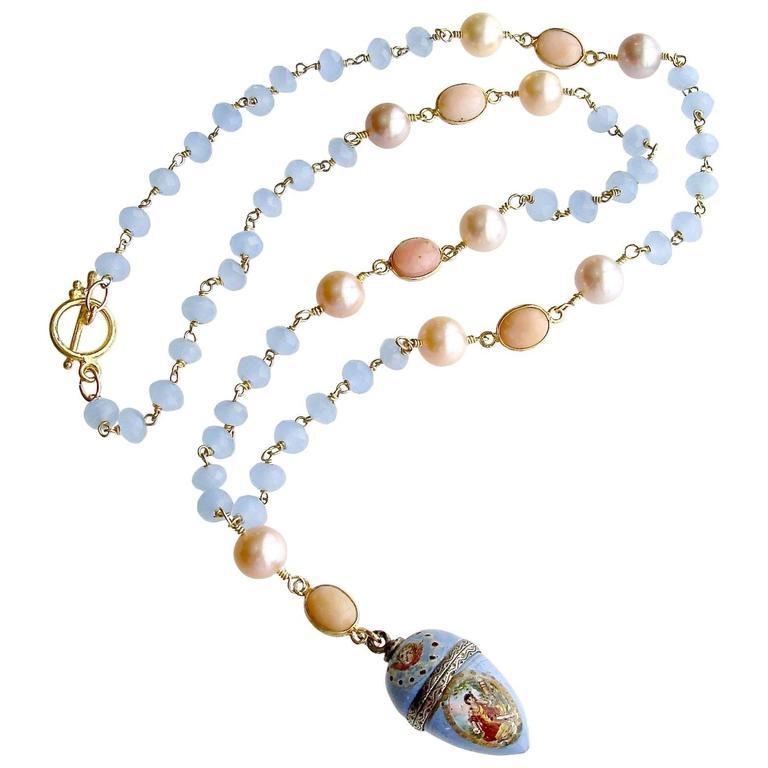 Austro-Hungarian Enamel Egg Vinaigrette Blue Chalcedony Pink Opal Necklace