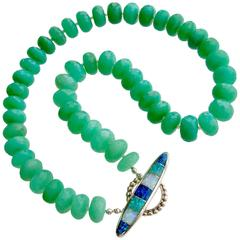 Faceted Chrysoprase Inlay Opal Toggle Choker Necklace