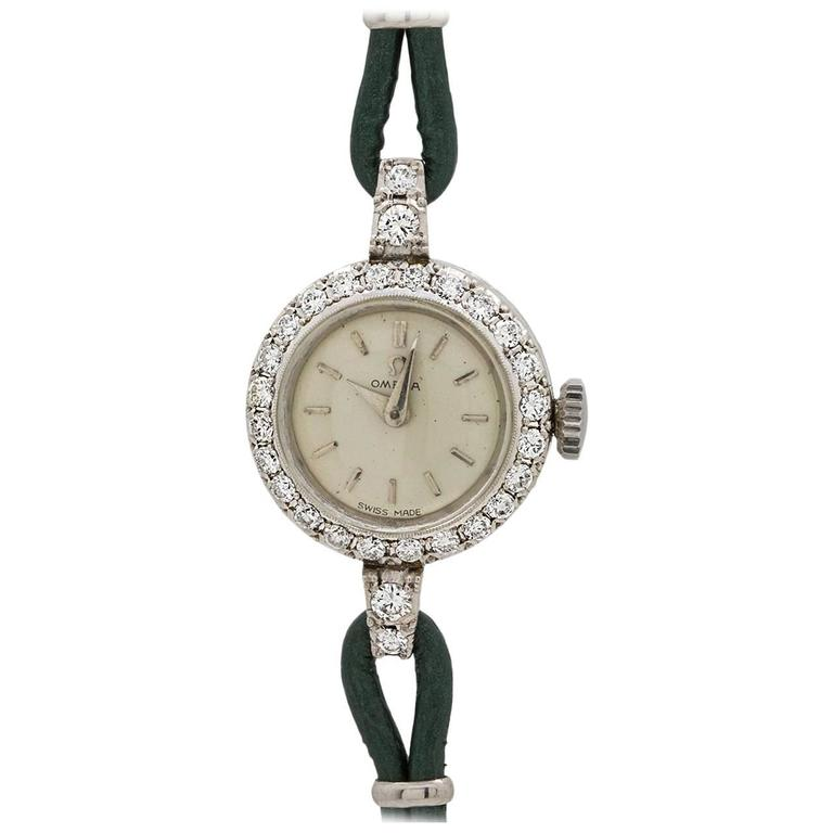 Omega Ladies Platinum Diamonds Dress Manual Wind Wristwatch, circa 1954
