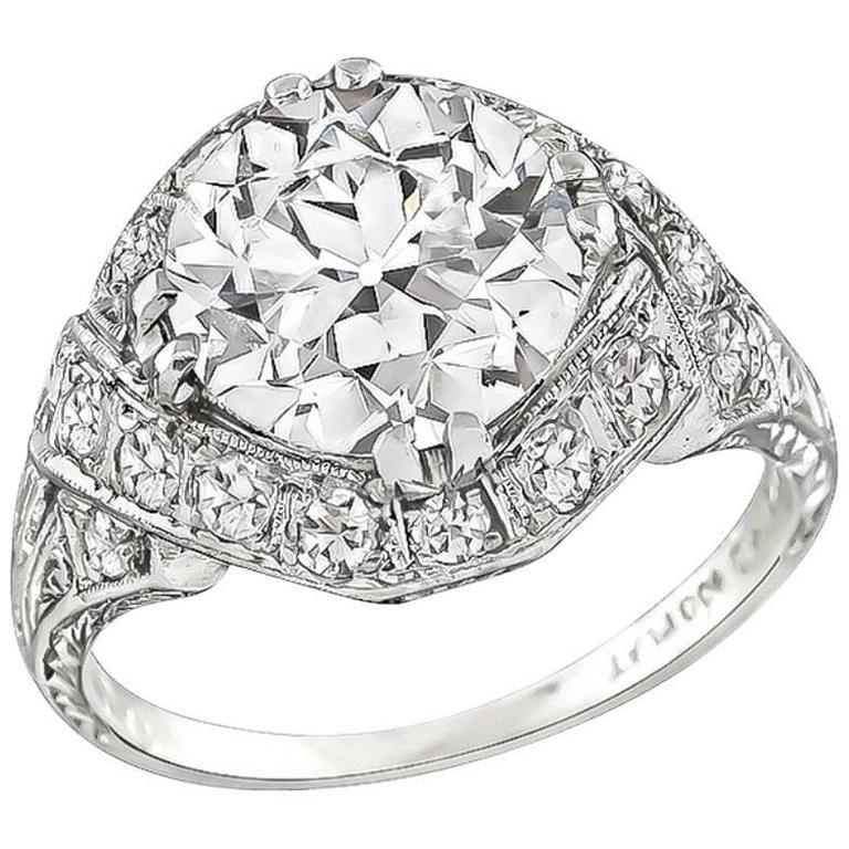 Stunning GIA Certified 2.34 Carat Diamond Platinum Engagement Ring