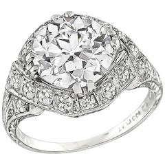Stunning GIA Certified 2.34 Carat Diamond Platinum Engagement Ring