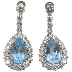 Blue Topaz Diamond White Gold Drop Earrings