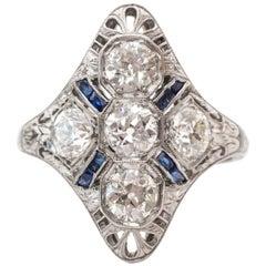 1920s Art Deco 1.50 Carat Ornate Old Mine Diamond and Sapphire Shield Ring