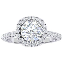 GIA Certified 1.06 Carat Round Diamond Halo Platinum Ring
