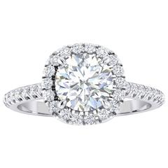 Ferrucci GIA Certified 1.06 Carat Round Diamond halo platinum ring