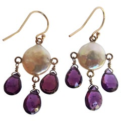 Marina J White Coin Pearl and Tourmaline Teardrop with 14 K Yellow Gold Earrings