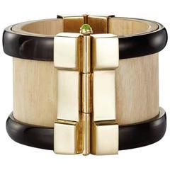 Fouche Bespoke Horn Wood Peridot Emerald Ruby Cuff Bracelet