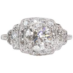 1920s GIA Certified 1.15 Carat Diamond Engagement Ring