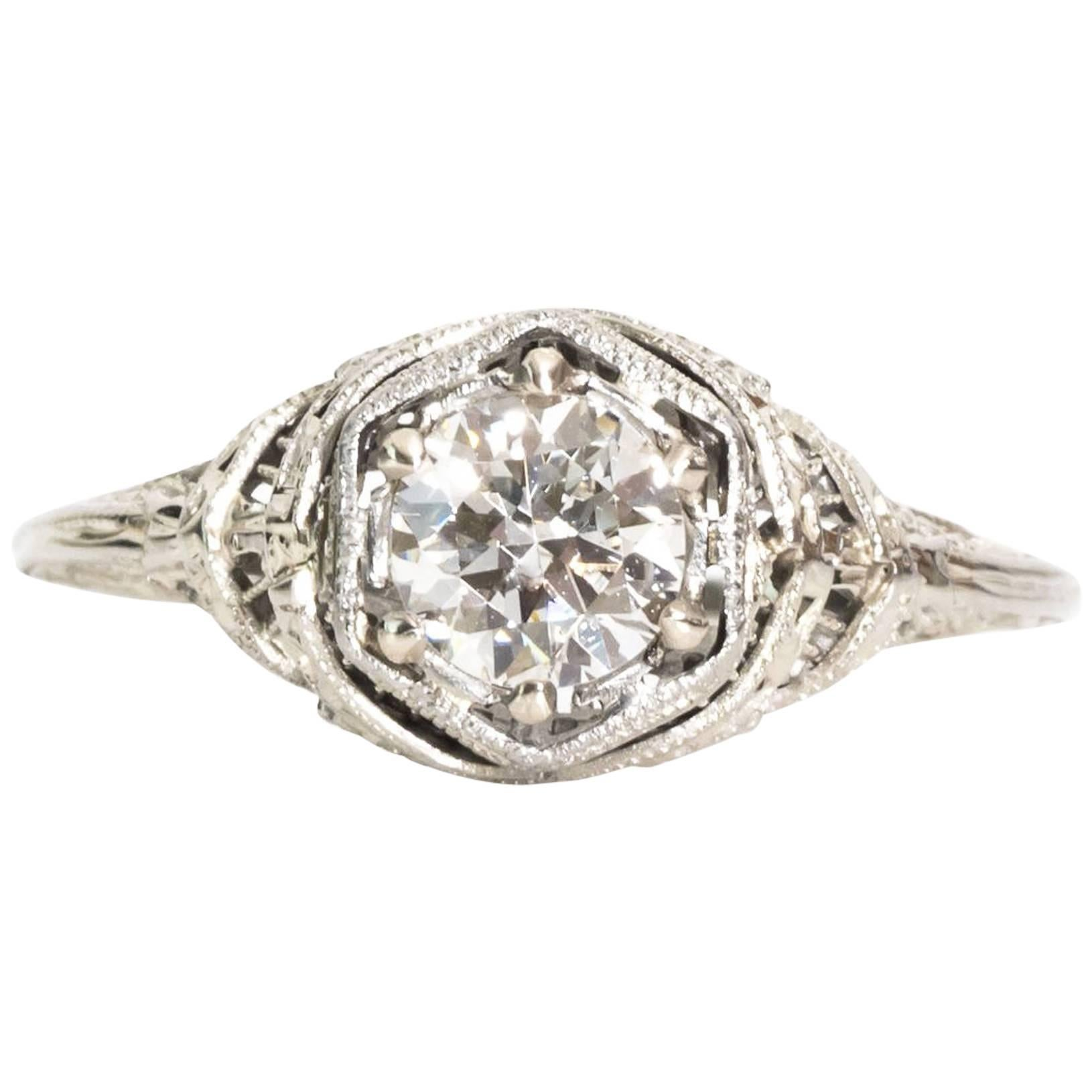 1940s Traditional GIA Certified Diamond Cathedral Engagement Ring