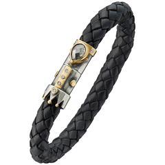 Bergsoe Leather Silver Gold Diamond Bracelet