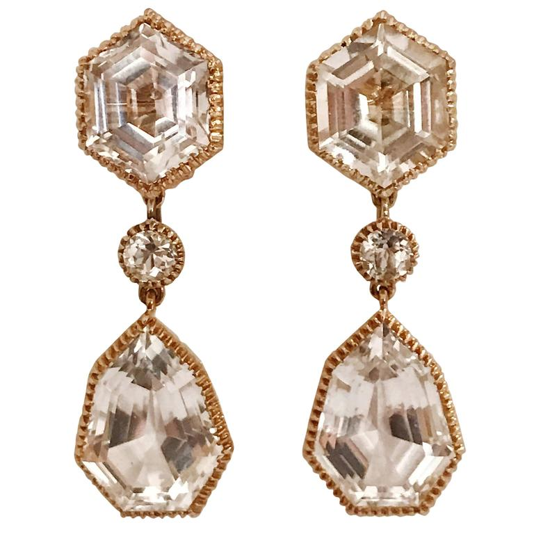 Verdura Byzantine white topaz yellow gold Pendant Clip on Earrings For Sale