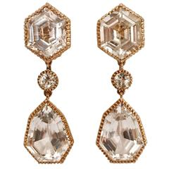 Verdura Byzantine white topaz yellow gold Pendant Clip on Earrings
