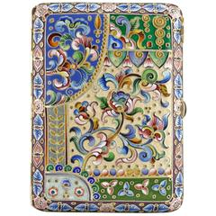 Russian Antique Silver and Shaded Cloisonné Enamel Cigarette Case with Tulips