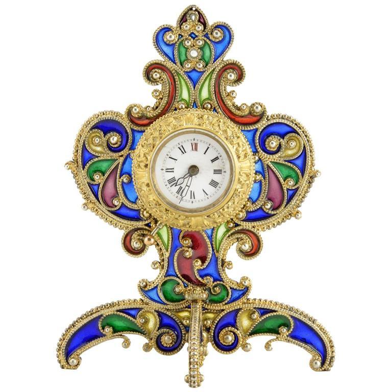 Austrian Art Nouveau Silver Gilt and Plique-à-jour Enamel Desk Clock, circa 1900