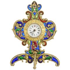 Austrian Art Nouveau Silver Gilt and Plique-à-jour Enamel Desk Clock, circa 1900
