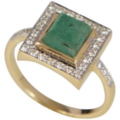 Jade Jagger Emerald and Diamond Yellow Gold Ring