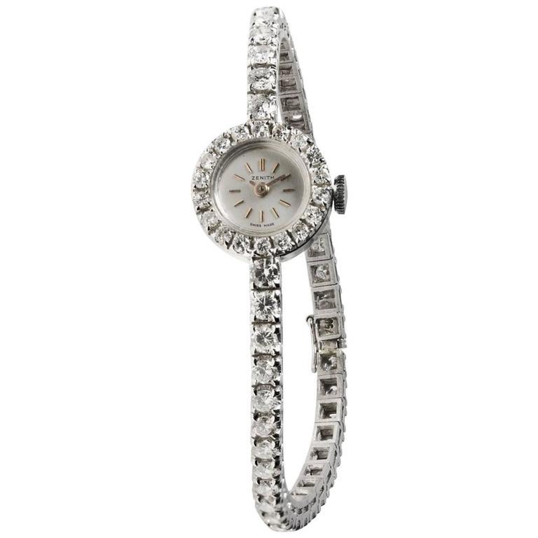 Zenith Ladies White Gold Diamond manual cocktail Wristwatch
