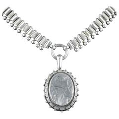 Antique Edwardian Silver Locket and Collar Dated 1905