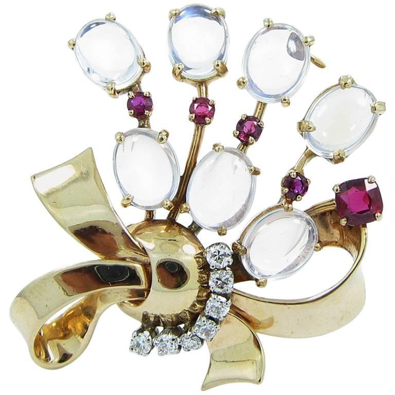Raymond Yard Moonstones Rubies Diamonds Yellow Gold Brooch