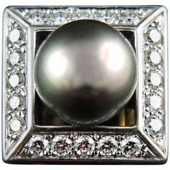 Tahitian Black Pearl and Diamonds French Ring