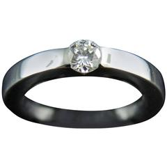 Cartier Solitaire Engagement Diamond Ring 0.21 Carat White Gold