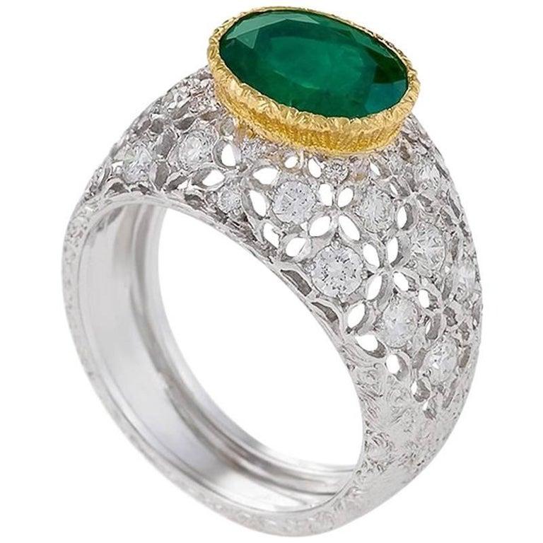 Mario Buccellati 1970's Emerald Diamond Gold Ring For Sale