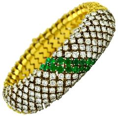 Emerald Diamond Gold Link Bracelet