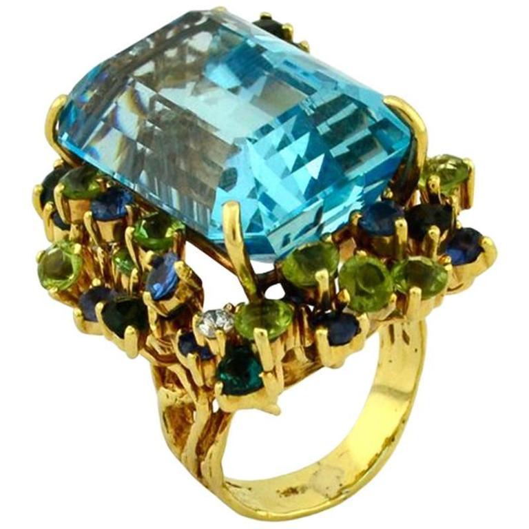 35.50 Carat Aquamarine Peridot Diamond Sapphire Gold Ring 1