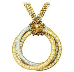 Trinity de Cartier Diamond Tricolor Gold Necklace