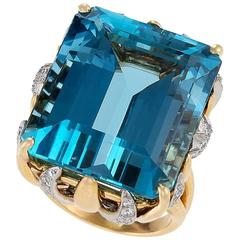 Ruser Mid-20th Century Aquamarine Diamond Gold and Platinum Ring