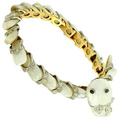 Victorian Pearl Diamond Gold Snake Bracelet