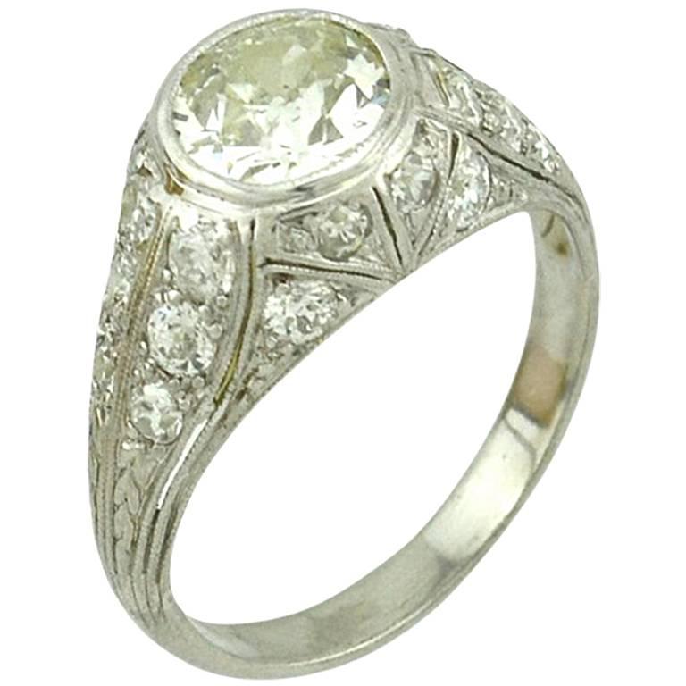 1.18 Carat Art Deco Old European Cut Diamond Platinum Engagement Ring