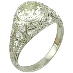 1.18 Carat Art Deco Old European Cut Diamond Platinum Engagement Ring