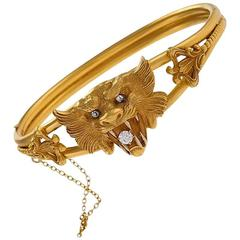 Antique Diamond and Gold Lion Bangle Bracelet