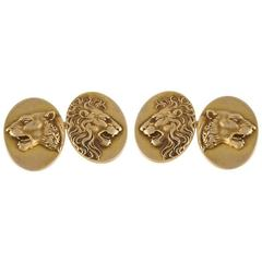 American Art Nouveau Gold Lion Cufflinks