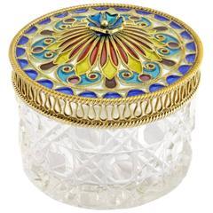 Antique Norwegian Plique-à-Jour Enamel and Cut Glass Vanity or Trinket Jar