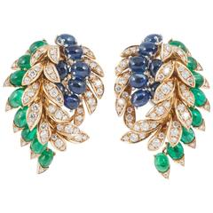 Fasano Turin Italy Multi Gem Set Gold Clip-On Earrings