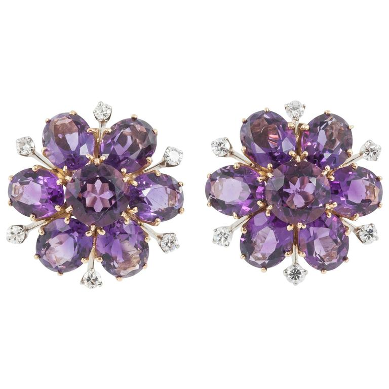 Stunning Amethyst and Diamond Round Cluster Ear Clips