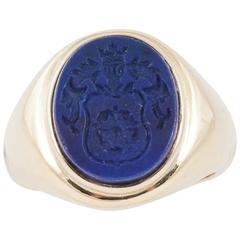Lapis Lazuli Intaglio Signet Ring
