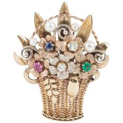 Basket Brooch with Multi Gem Flowers and Cultured Pearls
