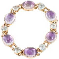 Amethyst Aquamarine Gold Bracelet
