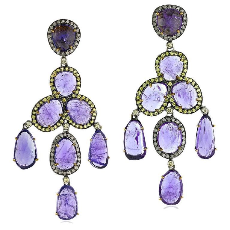 Tanzanite Diamond Chandelier Earring 1