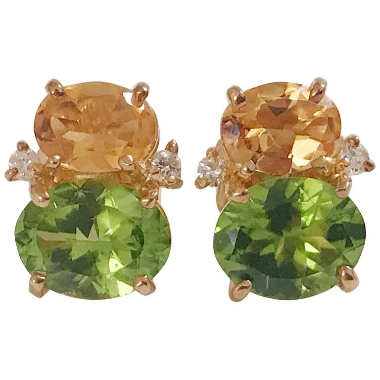 Mini GUM DROP™  Earrings with Citrine and Peridot and Diamonds 1