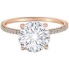 GIA Certified 2.13 Carat Round Brilliant Micro Pave Rose Gold Engagement Ring