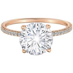 GIA Certified 2.02 Carat Round Diamond Micro Pave Solitaire Engagement Ring