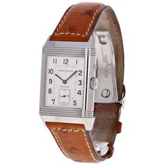 Jaeger LeCoultre Stainless Steel Reverso Duo Day Night Manual Wind Wristwatch