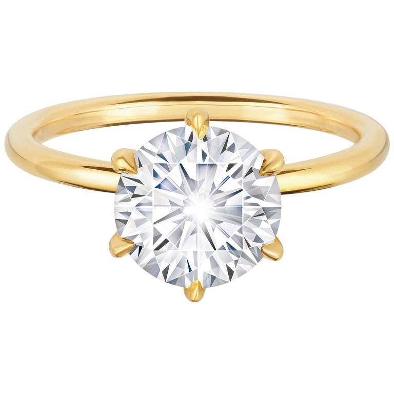 Marisa Perry 2 22 Carat Round Diamond Engagement Ring in Yellow